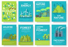 Ecology information cards set. Ecological template of flyear, magazines, posters Stock Illustration