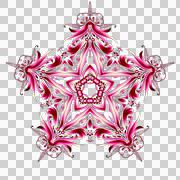 Five-pointed star. Reddish colors. A pattern with five beams. - stock illustration