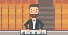 Musician playing piano - stock illustration