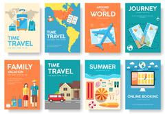 Tour of the world vector brochure set. Travel  icons. Travel posters. Travel - stock illustration