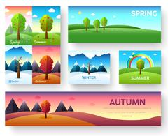 Weather seasons icons on nature ecology background.  Vector flat design Stock Illustration