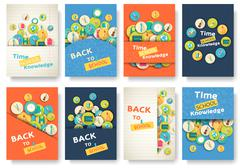Back to school information pages set. Education template of flyear, magazines Stock Illustration