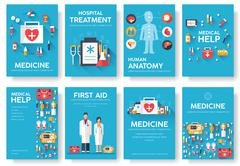 Medicine information cards set. Medical template of flyear, magazines, posters - stock illustration