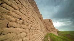 4K Timelapse Brick clay wall of the ancient city of Sauran, Kazakhstan Stock Footage