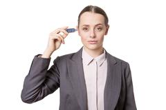 business woman usb - stock photo