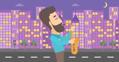 Musician playing saxophone - stock illustration