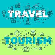 Travel infographic icons items design. Vacation rest with any elements set. Tour Piirros