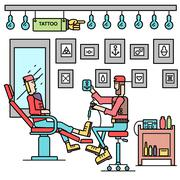 The artist offers the option of a tattoo for client concept. Vector tattoo shop - stock illustration