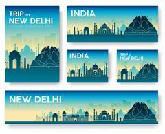 India landscape vector banners set. Vector design illustration c - stock illustration