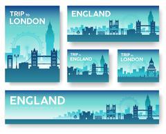 England landscape vector banners set. Vector design illustration - stock illustration