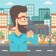 Cameraman with video camera Stock Illustration