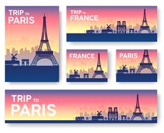 France landscape vector banners set. Vector design illustration - stock illustration