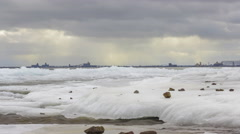 Wintery Cloudy Day over Lake Superior and Duluth 4K Timelapse Stock Footage