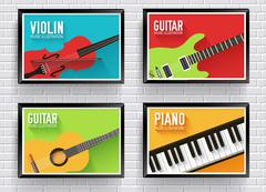 Colorful classical musical instruments background. Music instruments flat design Stock Illustration