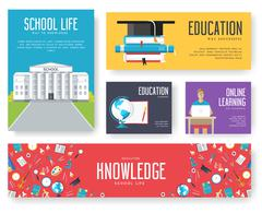 Back to school set of cards illustrations design brochure Stock Illustration