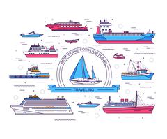 Set of thin line ship vector illustration. Ship thin line icons background - stock illustration