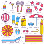 Summer vacation thin line icons collection set. Vector outline design - stock illustration