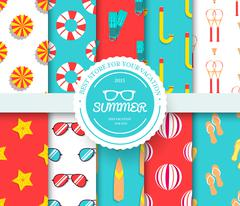 Collection set of summer vacation seamless pattern. Beach umbrella, lifebuoy Stock Illustration
