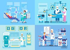 Medical examination doctor set concept. Medical visit to the doctor concept - stock illustration