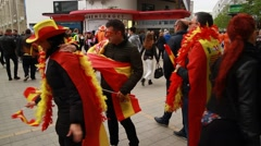 Spanish fans at Eurovision 2016 at Stockholm Globe Arena before the show Stock Footage