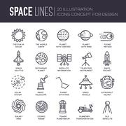 Vector thin lines icons stars in galaxy design concept. Set of huge space - stock illustration