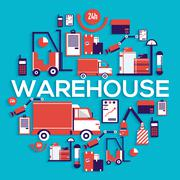 Warehouse staff puts cargoes, box, package and parcels circle concept. Business - stock illustration