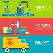Warehouse staff puts cargoes, box, package and parcels banners. Flat business - stock illustration