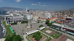 4k Aerial View of Izmir Konak Square and Clock Tower Captured by Drone Cam Stock Footage