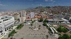 Aerial View of Izmir Konak Square and Clock Tower Turkey Stock Footage