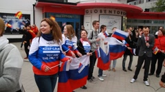 Russian fans at Eurovision 2016 at Stockholm Globe Arena before the show Stock Footage
