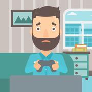 Addicted video gamer - stock illustration