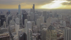 Orange Afternoon Clouds over Chicago Skyline Stock Footage