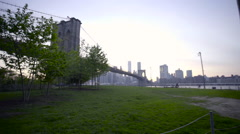 Brooklyn Bridge tracking shot Stock Footage