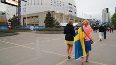 Swedish fans at Eurovision 2016 at Stockholm Globe Arena before the show Stock Footage