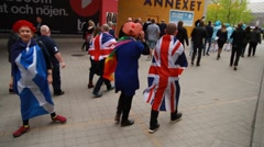 UK and Scottish fans at Eurovision 2016 at Stockholm Globe Arena before the show Stock Footage