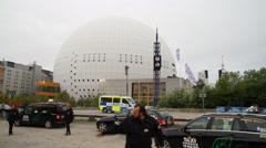 Taxis arriving at Eurovision 2016 at Stockholm Globe Arena before the show Stock Footage