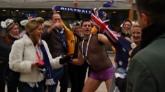 Australian fans at Eurovision 2016 at Stockholm Globe Arena before the show Stock Footage