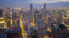 Blue Hour Over Chicago Downtown Skyline 4K Timelapse Arkistovideo
