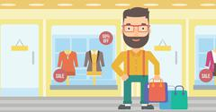 Happy customer with bags - stock illustration