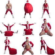 Collage of sexy guy dressed as Santa Claus - stock photo