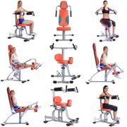 Collage of girls exercising on modern simulators - stock photo