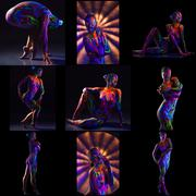 Collage of mystical nude girl posing in neon light Stock Photos