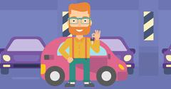 Man holding keys from new car - stock illustration