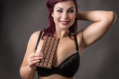 who needs a man when a woman has chocolate - stock photo