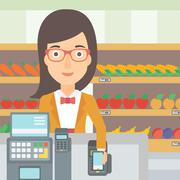 Customer paying with smartphone using terminal - stock illustration