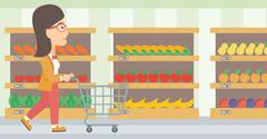 Customer with trolley Stock Illustration