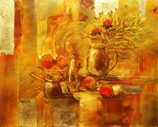 still life handmade painting - stock illustration