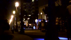 Hollywood Beach Florida board walk at night with People Arkistovideo