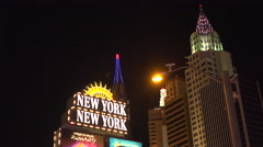 4K: The Manhattan Skyline on the Las Vegas Strip at NYNY Stock Footage