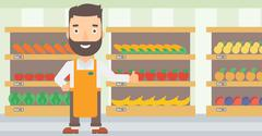 Friendly supermarket worker - stock illustration